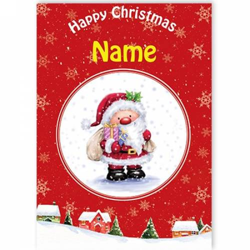 Happy Christmas Santa With Gifts Card