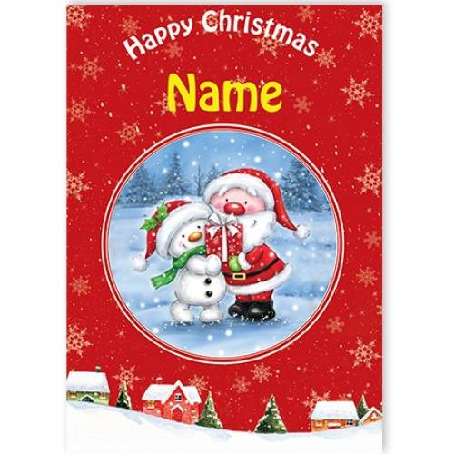 Santa With Snowman Card