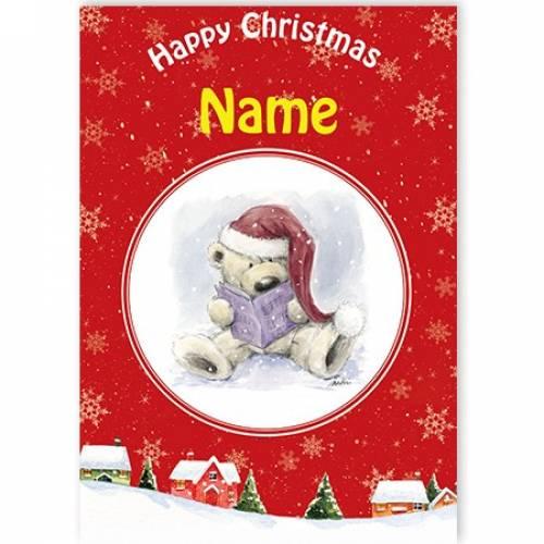 Happy Christmas Teddy Reading Card
