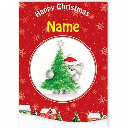 Happy Christmas Teddy Behind Tree Card