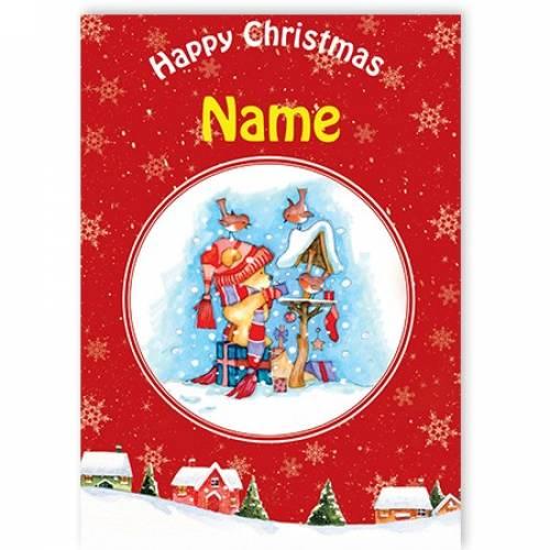Happy Christmas Teddy Feeding Birds Card
