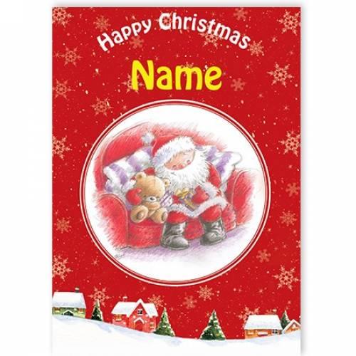 Happy Christmas Santa And Teddy Card