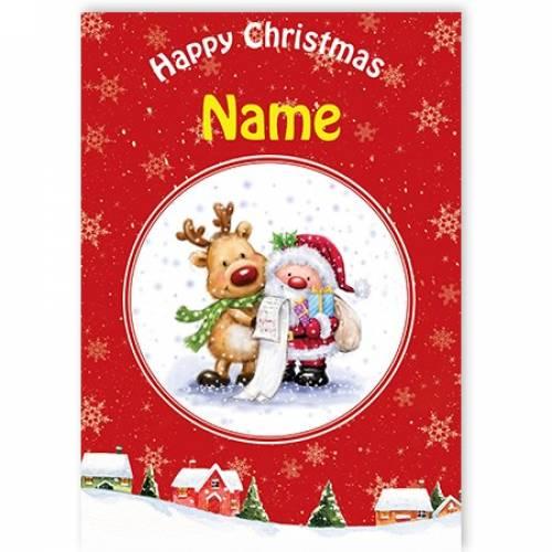 Rudolph And Santa Happy Christmas Card