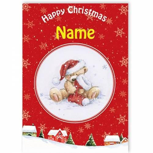 Happy Christmas Teddy With Christmas Stocking Card