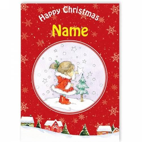 Girl And Tree Happy Christmas Card