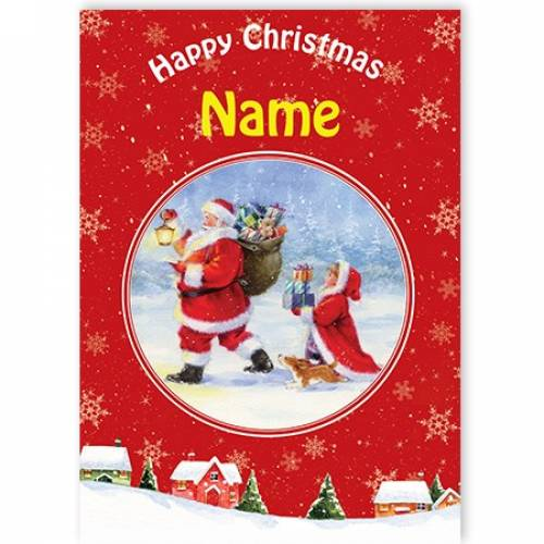Happy Christmas Santa Delivering Toys Card