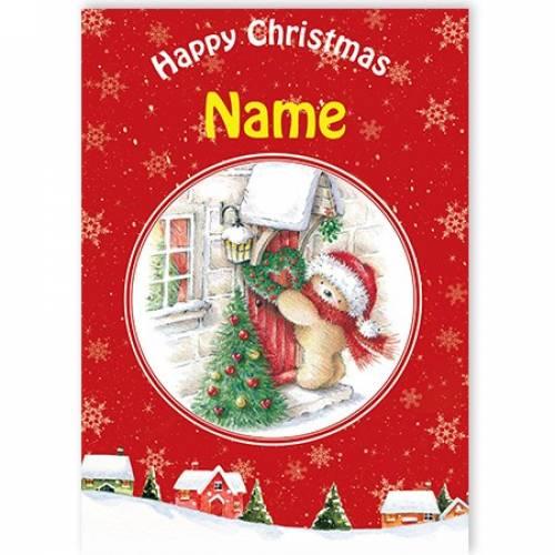 Happy Christmas Tree And Teddy Card