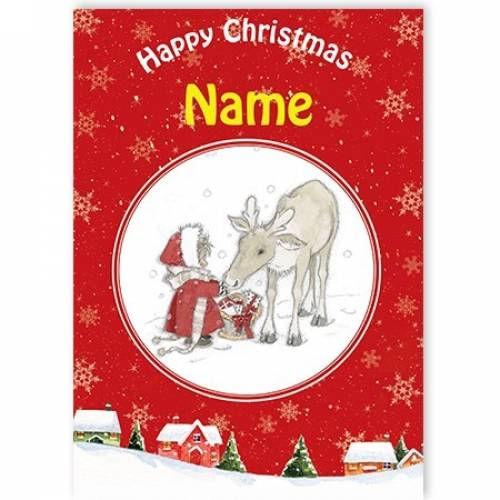 Child And Deer Happy Christmas Card