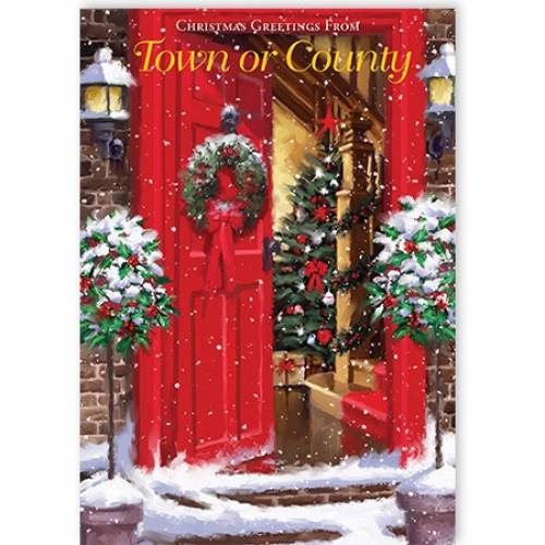 Red Door Christmas Greetings From Town Or County Card