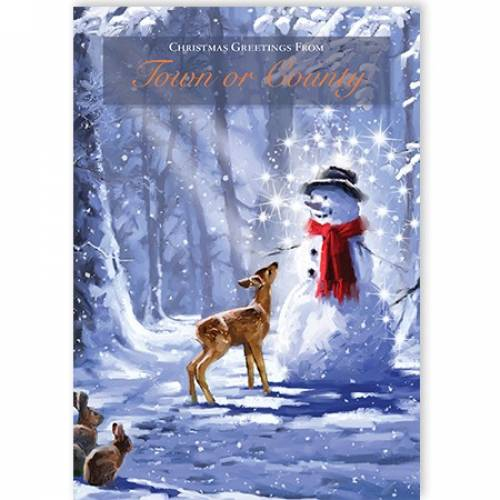 Christmas Greetings Dear Rabbits & Snowman Scene Card