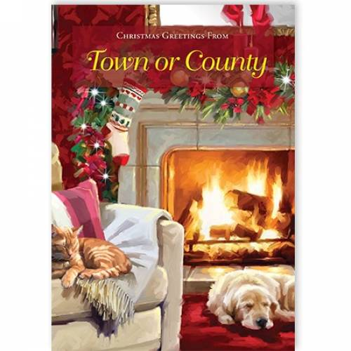 Fireside Christmas Greetings From Town Or County Card