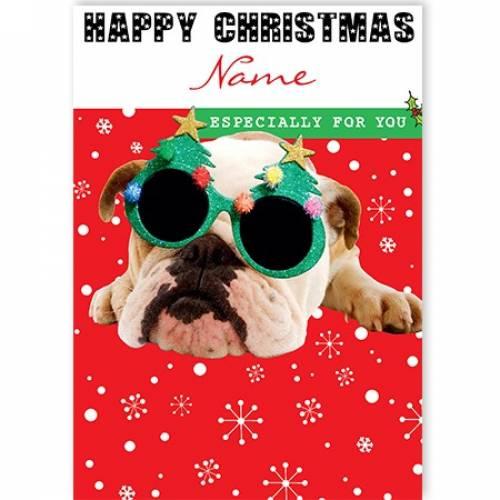 Christmas Glasses Bull Dog Card
