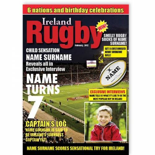 Magazine Ireland Rugby Birthday Card