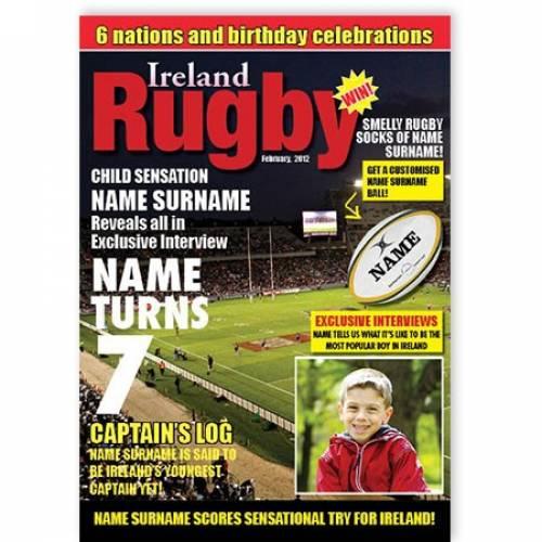 Magazine Ireland Rugby Birthday Card