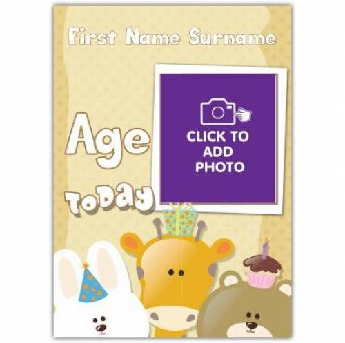 Kids Birthday Animals Any Age Today Birthday Card