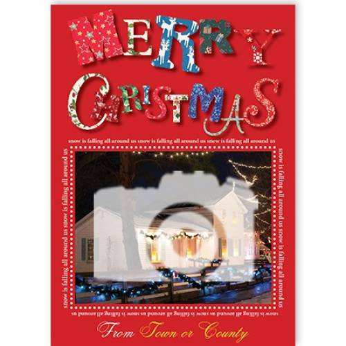 Merry Christmas Photo Upload From(town Or County) Card