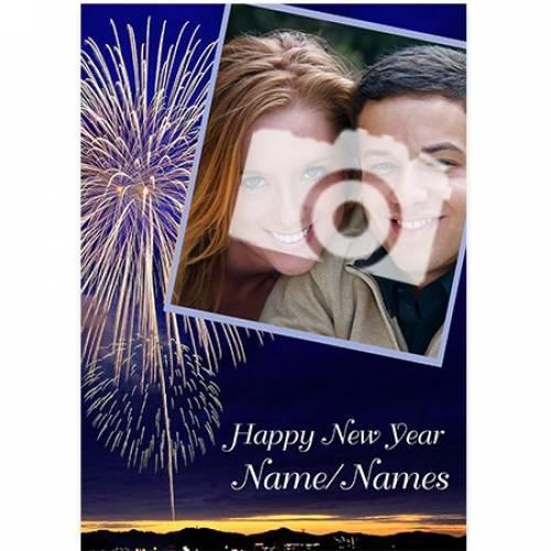 Photo Fireworks Happy New Year Card