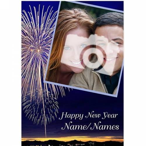 Photo Fireworks Happy New Year Card