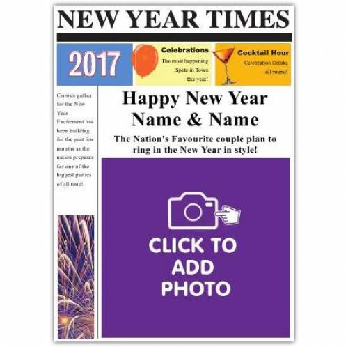 Photo Newspaper To A Couple Happy New Year Card