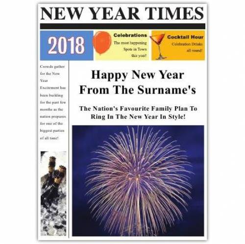 Newspaper Fireworks Happy New Year Card