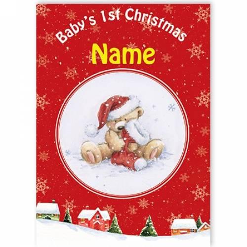 Baby's 1st Christmas Teddy With Christmas Stocking Card