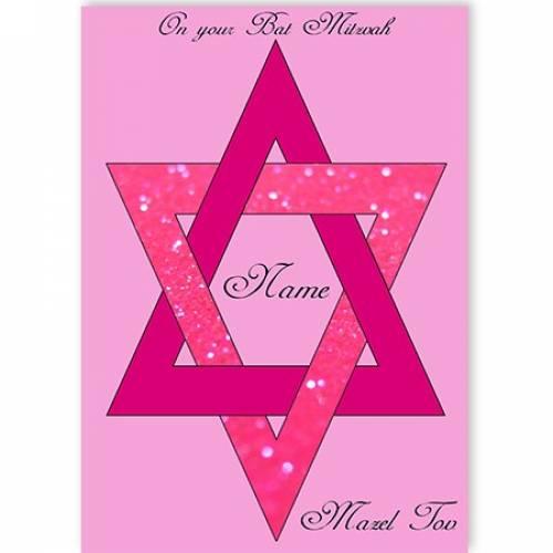 On Your Bat Mitzvah Star Of David Mazel Tov Pink Card