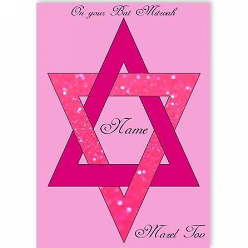 On Your Bat Mitzvah Star Of David Mazel Tov Pink Card