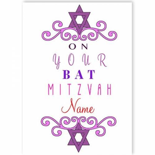 On Your Bat Mitzvah Name Star Of David Jewish Purple Card