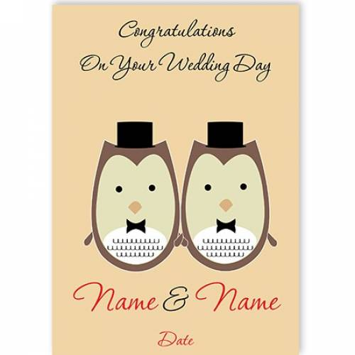 Two Owls In Tuxes Congratulations On Your Wedding Day Card