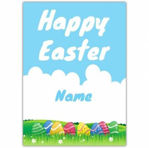 Happy Easter Eggs In A Meadow Card