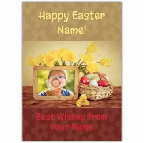 Easter Daffodils And Egg Basket Card