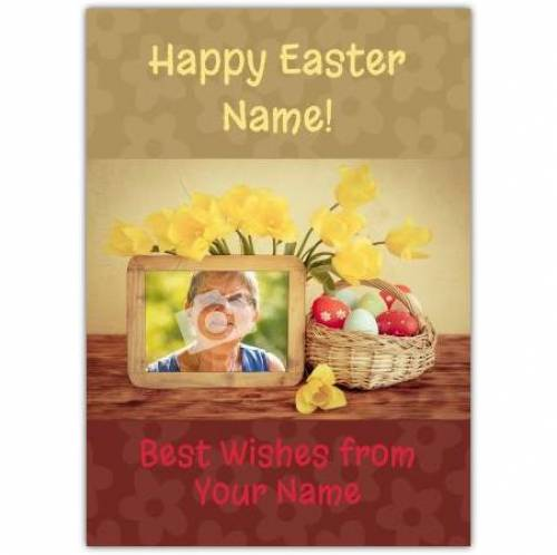 Easter Daffodils And Egg Basket Card