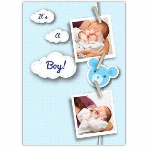 Blue Photos On Pegs New Baby Card