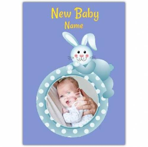 Blue Bunny Rabbit New Baby Card