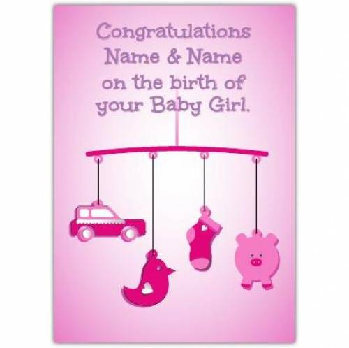 Pink Mobile New Baby Card