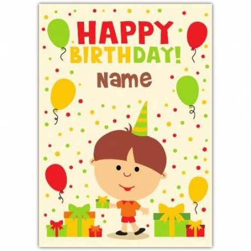 Boy With Presents & Balloons Happy Birthday Card