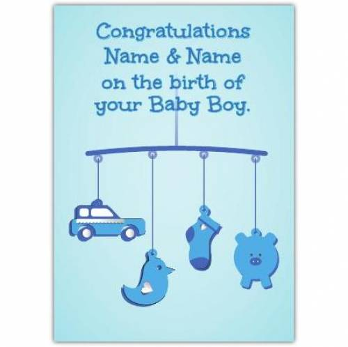 Blue Mobile New Baby Card