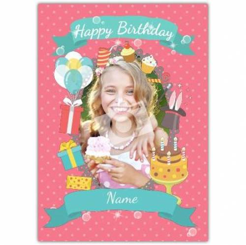 Pink Presents Cake Happy Birthday Card
