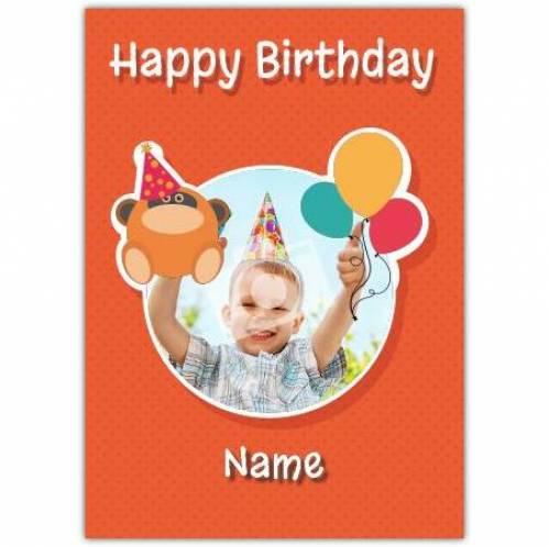 Gorilla & Balloons Happy Birthday Card