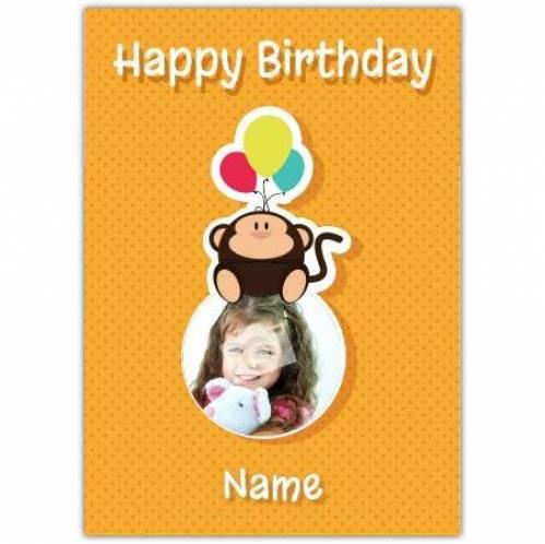Monkey With Balloons Happy Birthday Card