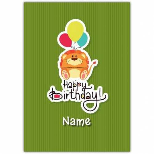 Lion & Balloons Happy Birthday Card
