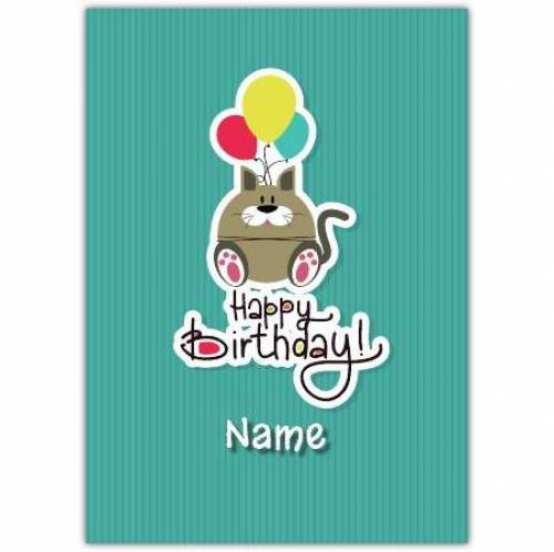 Cat & Balloons Happy Birthday Card