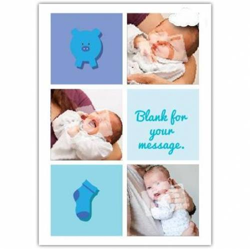 Pig And Sock Baby Card
