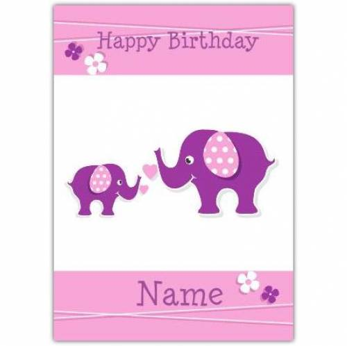 Purple Elephant Happy Birthday Card Card