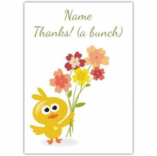 Bird And Flowers Thank You Card