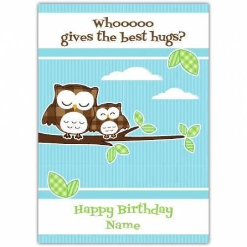 Happy Birthday Two Owls Hugging Card