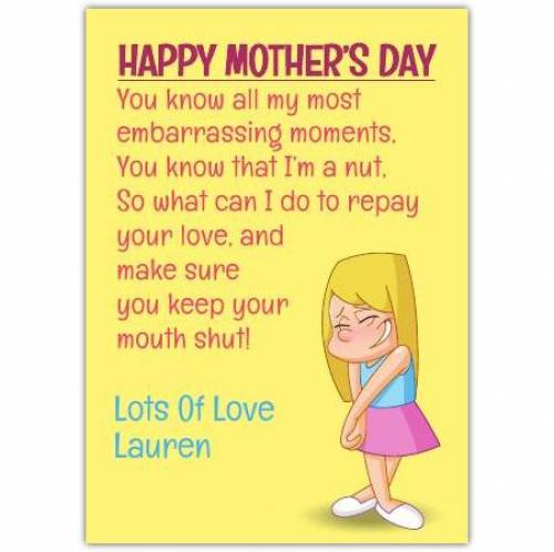 You Know Me Happy Mother's Day Card