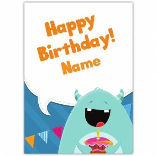 Monster And Cake Happy Birthday Card