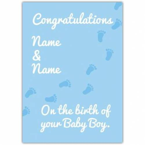 Footprints Blue New Baby Card