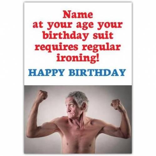 Birthday Suit Ironing Happy Birthday Card